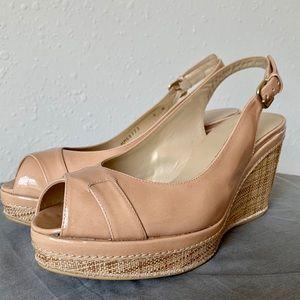 Stuart Weitzman Nude Wedge Sandals